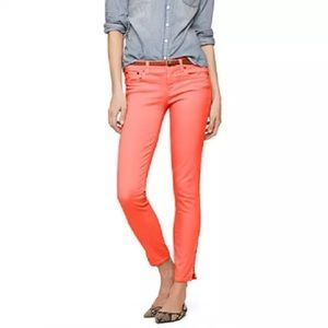 J. Crew Coral Ankle Cropped Toothpick Jeans 26